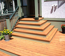 Stained Cedar Deck With Painted Trim