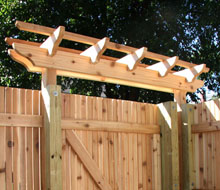 Cedar Fence with Gates and Pergolas