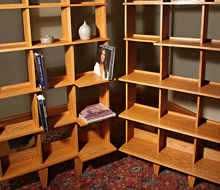 Built-In Red Oak Bookshelves