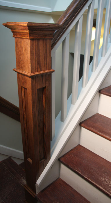 Red Oak Handrails and Newel Post