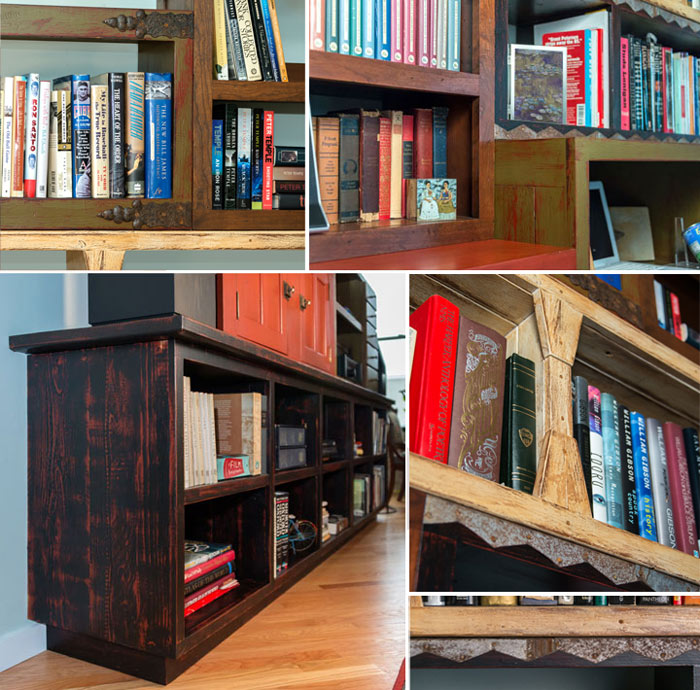 Folk Art Distress Finished Bookcases With Antique Hardware and Metalwork