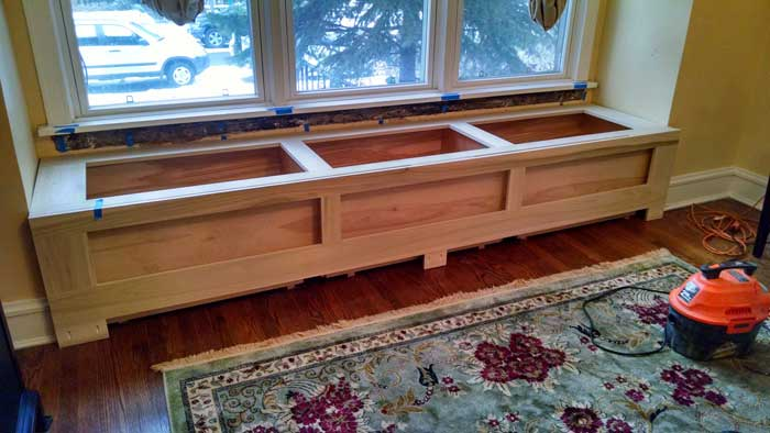 Window Seat with Birch Storage Boxes