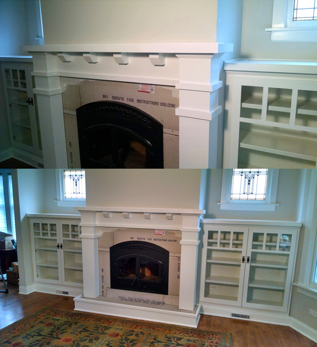Oak Park Mantel and Bookcases