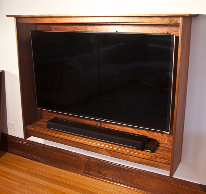 Walnut Post Modern TV Cabinet With Faux front Drawer Panels