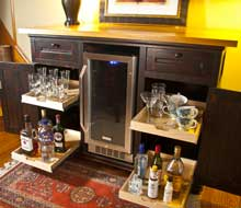 Bar With Kegerator, Drawers, Shelves and Cypress Top
