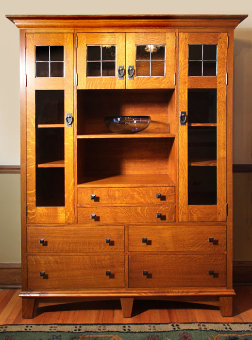 Craftsman Quarter-Sawn Oak Cabinet with Leaded Glass ...
